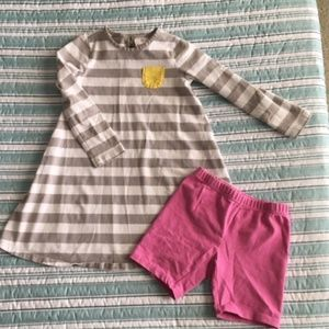 Girls Long Sleeved Dress w/ Pink Shorts (Used)